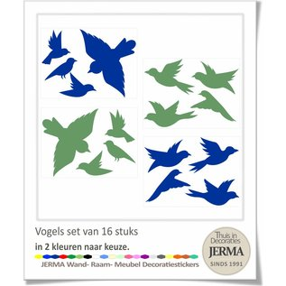 JERMA - Decoratie Vogel raamstickers set 14 vogelstickers in 2 kleuren naar keuze.