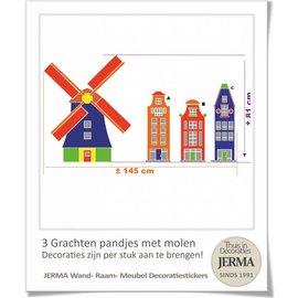JERMA - Decoratie Grachtenpandjes muurstickers en Molen