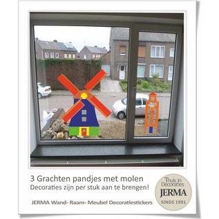 JERMA - Decoratie Grachtenpandjes muurstickers met Molen (set van 3 grachtenpandjes)