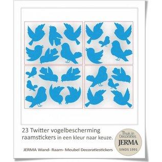 Raam-, Wand decoratiesticker Twitterende vogeltjes Voorkom dat de vogels tegen je raam of windscherm vliegen Je kunt er voor kiezen dit met de standaard plakvogels te doen maar je kunt er ook voor kiezen hier deze set Twitterende vogeltjes voor te gebruiken.