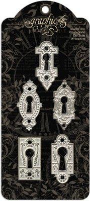 Graphic 45 Shabby Chic Ornate Metal Key Holes (4500840)
