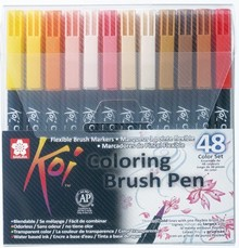SAKURA Koi Coloring Brush Pens 48 Color Set (XBR-48)