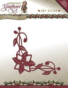Amy Design Christmas Greetings Poinsettia Corner Die (ADD10071)