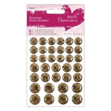 Papermania Shimmer Dome Stickers (36pcs) - Gold (PMA 805916)