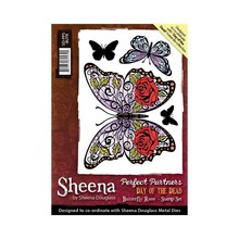 Crafter's Companion Sheena Douglass Day Of The Dead Butterfly Rose Unmounted Rubber Stamp Set (SD-PPS-BUTR)