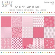 Simply Creative FSC Paper Pad 6x6 Inch Floral Lace-Pink (SCPAD062)