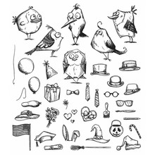 Stampers Anonimous Cling Stamps Mini Bird Crazy & Things (CMS250)