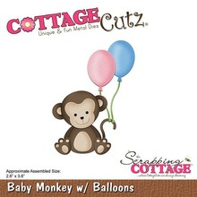 Scrapping Cottage CottageCutz Baby Monkey with Balloons (CC-292)