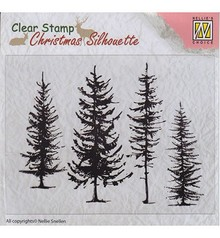 Nellie Snellen Christmas Silhouette Pine Trees Clear Stamp (CSIL004)