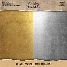 Idea-ology (Tim Holtz) Metallic Gold & Silver 8x8 Inch Paper Stash (TH93586)