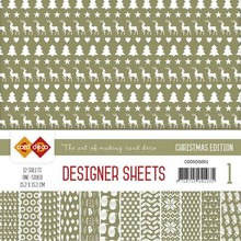 Card Deco Christmas Edition Olijfgroen 6x6 Inch Designer Sheets (CDDSOG001)