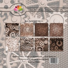 Dixi Craft 6x6 Inch Paper Pack Gears Background - Brown (PP0083)