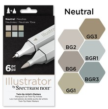 Spectrum Noir Illustrator Blendable Alcohol Markers 6 Pen Boxset - Neutral (SPECN-IL6-NEU)