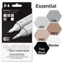 Spectrum Noir Illustrator Blendable Alcohol Markers 6 Pen Boxset - Essentials (SPECN-IL6-ESS)