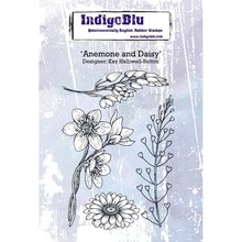 IndigoBlu Anemone and Daisy A6 Rubber Stamp (IND0371)