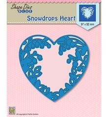 Nellie Snellen Shape Die Blue Snowdrops Heart (SDB008)