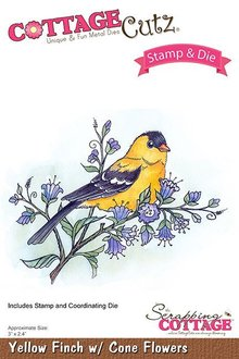 Scrapping Cottage CottageCutz Stamp & Die Yellow Finch With Cone Flowers (CCS-033)