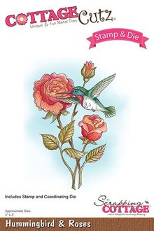 Scrapping Cottage CottageCutz Stamp & Die Hummingbird & Roses (CCS-034)