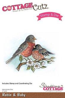 Scrapping Cottage CottageCutz Stamp & Die Robin & Baby (CCS-036)