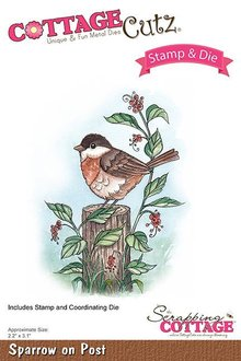 Scrapping Cottage CottageCutz Stamp & Die Sparrow On Post (CCS-037)