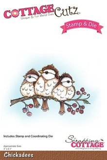 Scrapping Cottage CottageCutz Stamp & Die Chickadees (CCS-038)