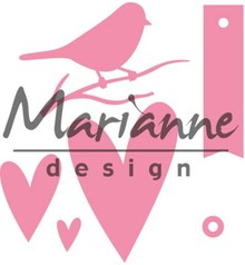 Marianne Design Collectable Giftwrapping Karin's Bird Hearts & Tag (COL1443)