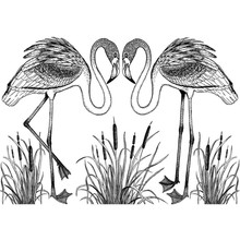 Crafty Individuals Unmounted Rubber Stamp Pretty Flamingos (CI-473)