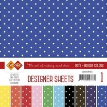 Card Deco Designer Sheets Dots Bright Colors 6x6 Inch Mega Pack (CDDSMP001)