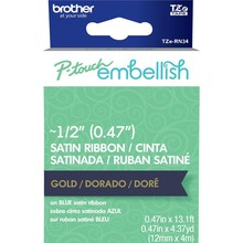Brother P-Touch Embellish Satin Ribbon Gold On Navy Blue (RN34)