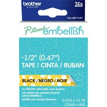 Brother P-Touch Embellish Black Print Pattern Tape Yellow With White Stars (MPYS31)