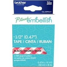Brother P-Touch Embellish Black Print Pattern Tape Red Gingham (MPRG31)