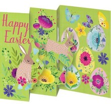 Roger La Borde Trifold Triptych Card Easter Bunnies (GCN 235E)