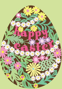 Roger La Borde Floral Egg Greeting Card (GC 1787E)