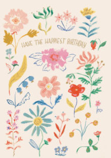 Roger La Borde Happiest Birthday Flowers Greeting Card (GCN 221)