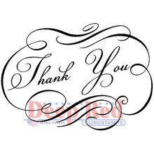 Deep Red Fancy Thank You Cling Stamp (3X505690)