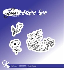 By Lene Clear Stamps Girl With Flowers (BLS1033)