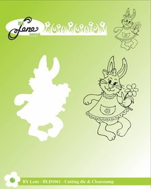 By Lene Metal Dies + Clear Stamp Rabbit With Flower (BLD1061)