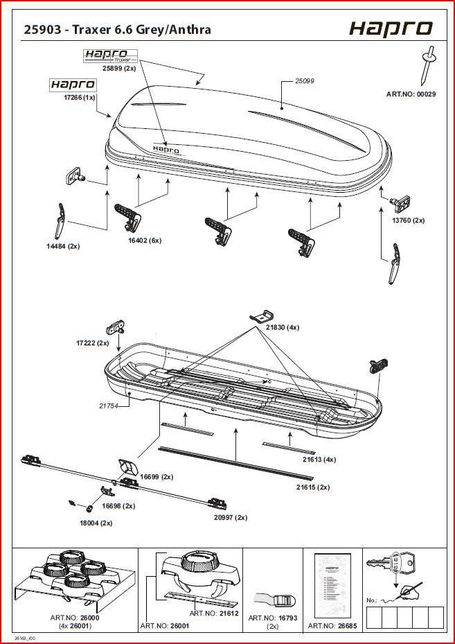 Hapro Roofbox parts Traxer handling costs - Sportiek Nederland