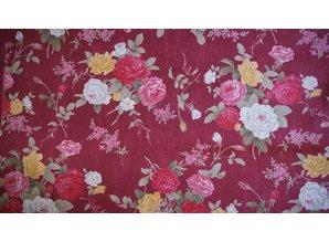 Sevenberry Rode ondergrond met middelgrote roosjes