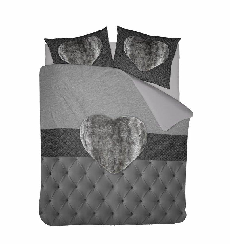 Nightlife Concept Dekbedovertrek Fur Heart Grijs