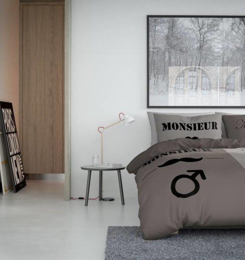 Nightlife Concept Dekbedovertrek Mustache Frans Taupe