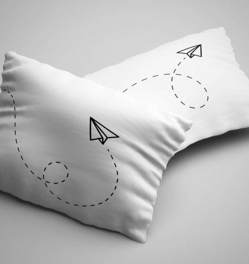 Nightlife Blue Kussenslopen Paper Plane (2 stuks)