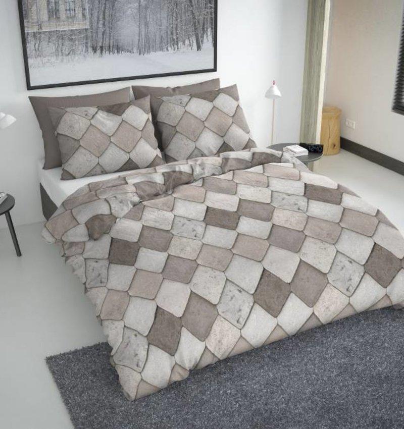 Nightlife Fresh Dekbedovertrek Tiles Taupe