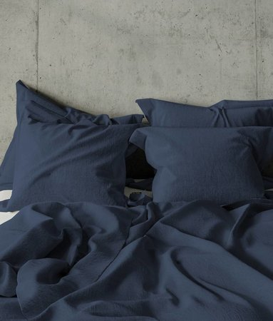 Real Washed Linnen Navy Blauw