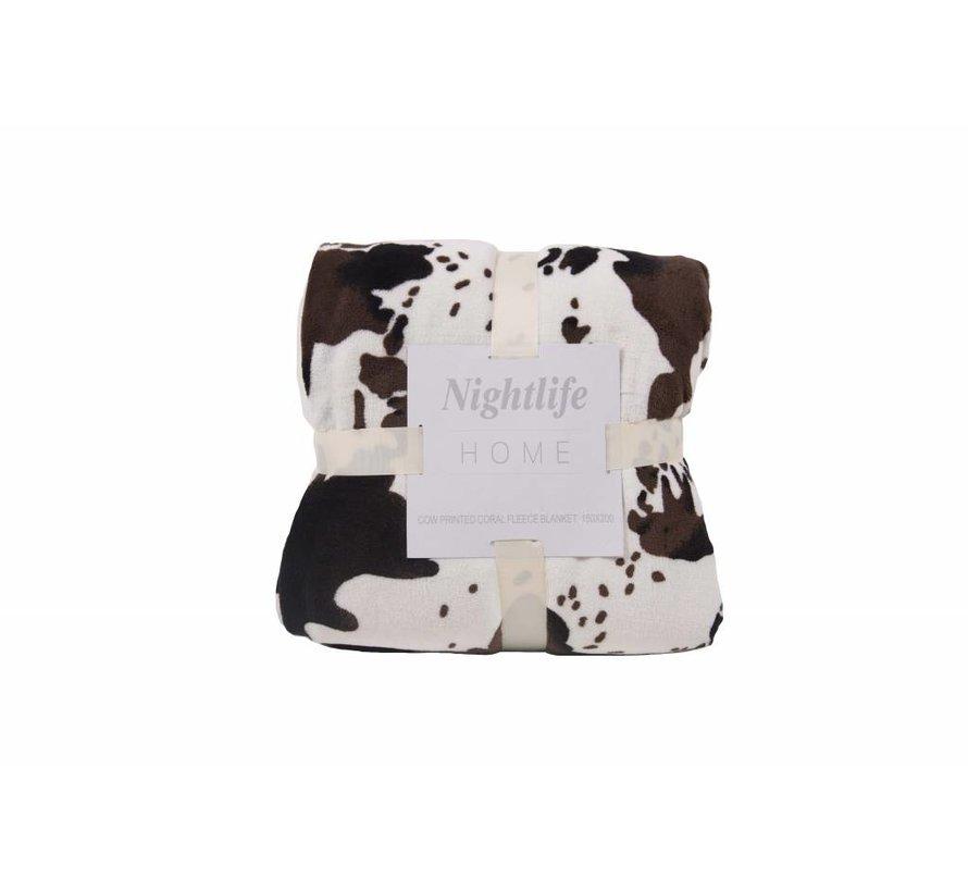 Woondeken Koeienprint met Sherpa 150x200
