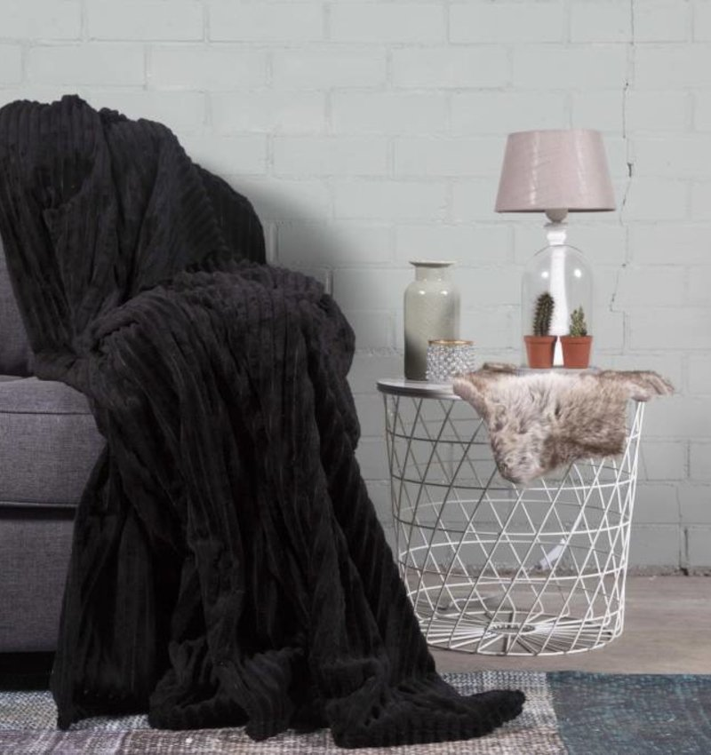 Nightlife Home Woondeken Flanel Rib Zwart 150x200