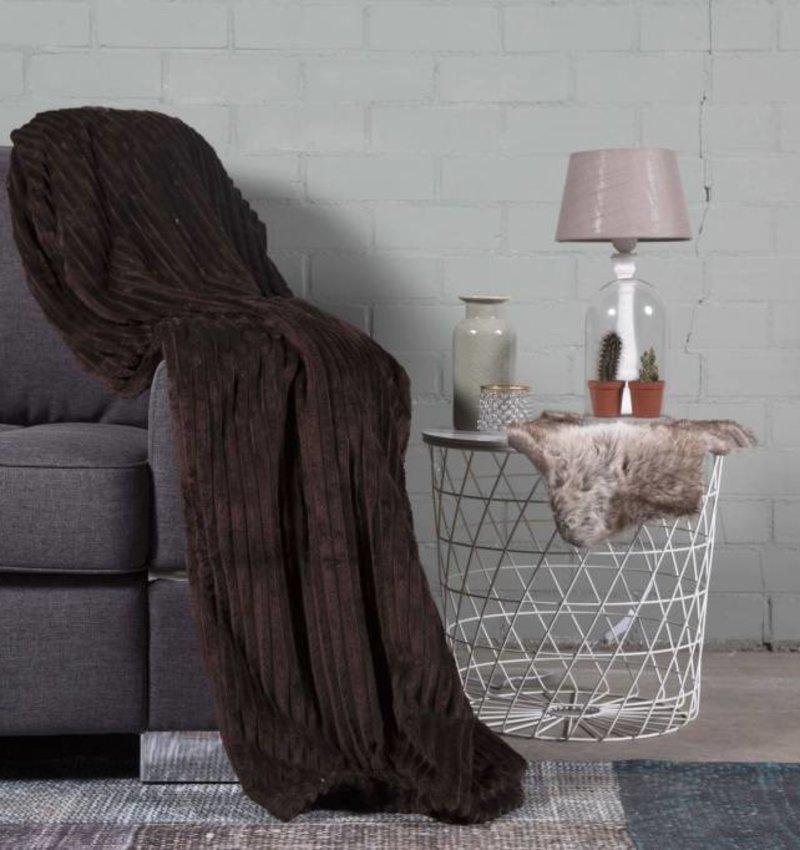 Nightlife Home Woondeken Flanel Rib Bruin 150x200
