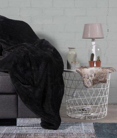 Woondeken Fluffy Zwart 150x200
