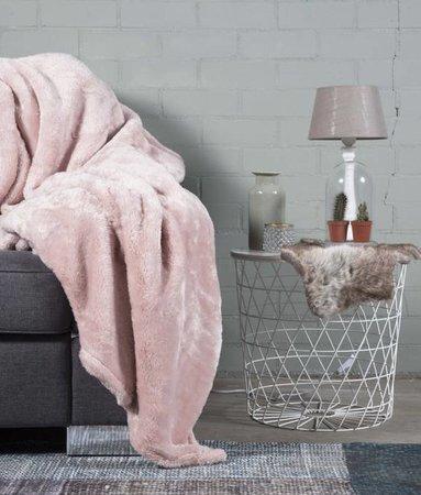 Woondeken Fluffy Poeder Roze 150x200