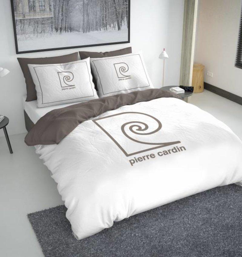 Pierre Cardin Dekbedovertrek Logo Wit / Taupe